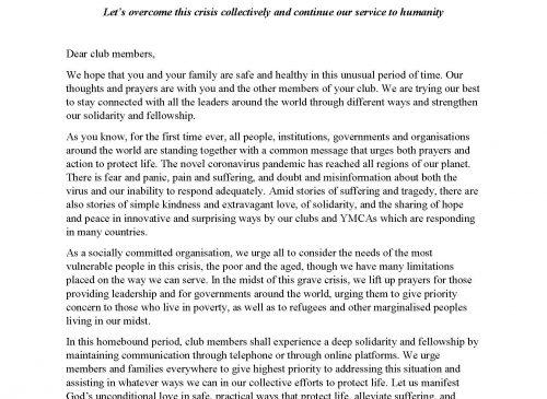Y's Men International Statement on COVID-19